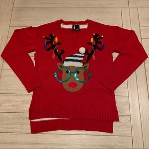 Reindeer red ugly Christmas sweater with bells